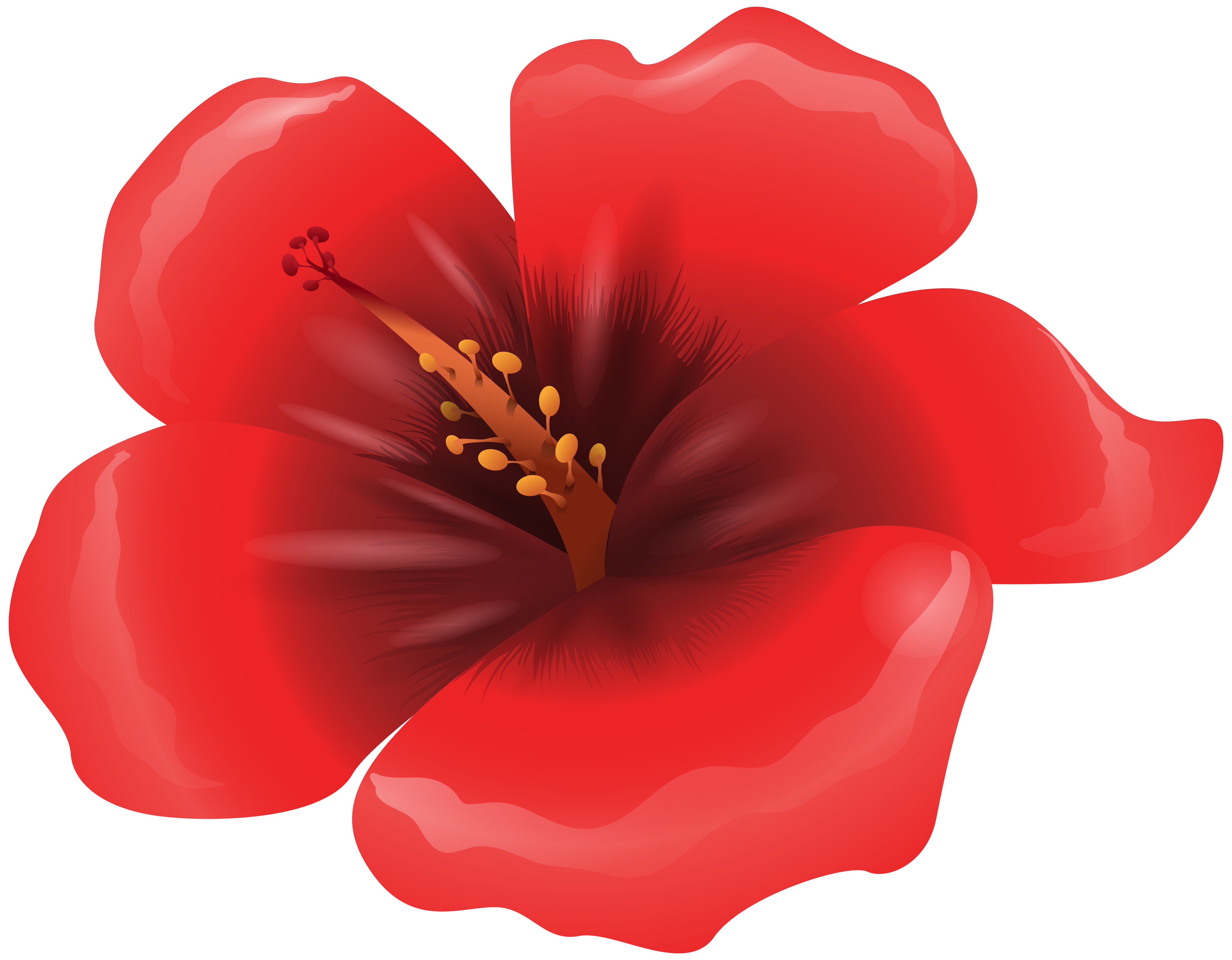 Large Red Flower Clipart PNG Image.