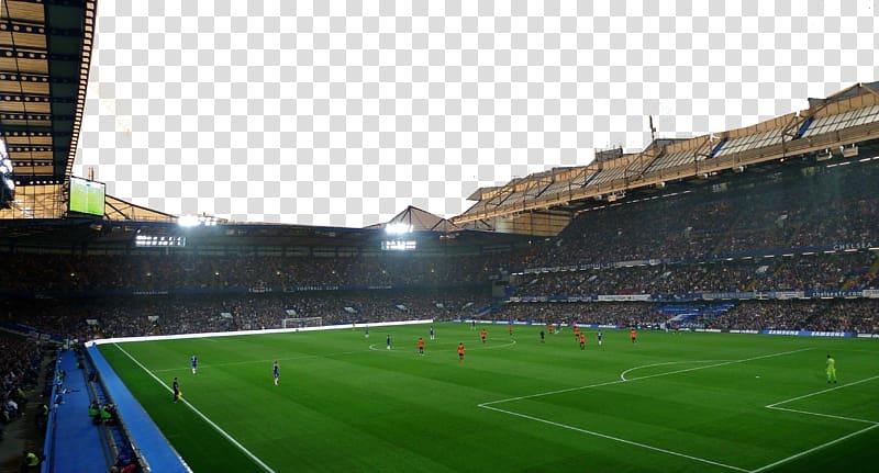 Soccer field surrounds by peopl, Chelsea F.C. Football Sport.