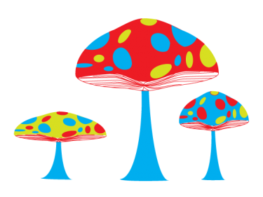 Secret Garden Mushrooms Clipart.