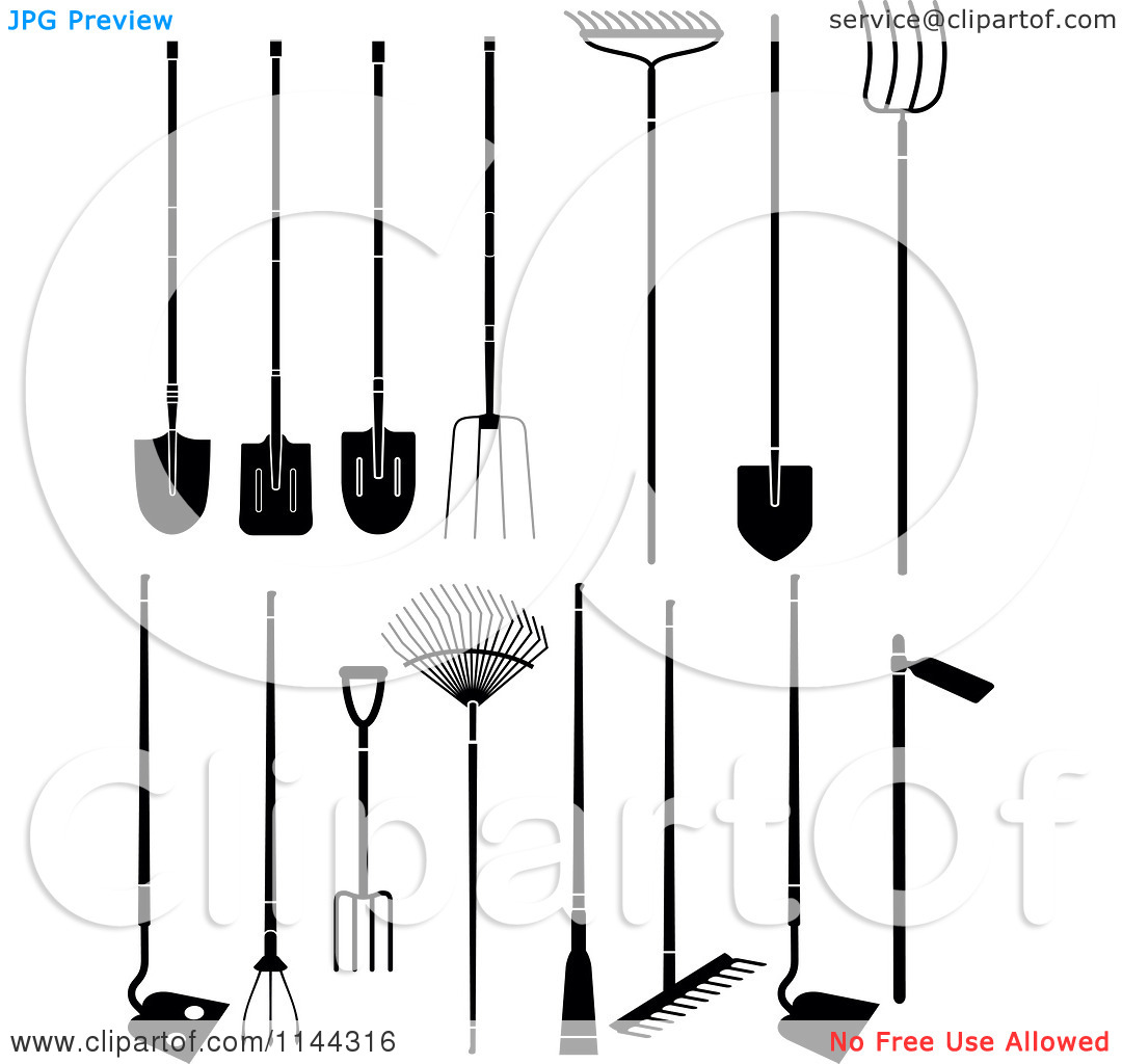 Clipart of Black and White Large Garden Tools.