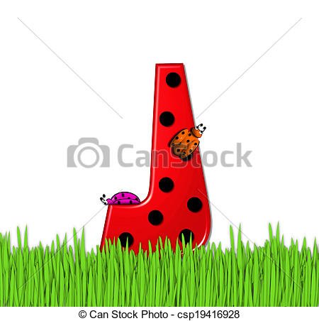 Clip Art of Alphabet Lady Bug Red J.