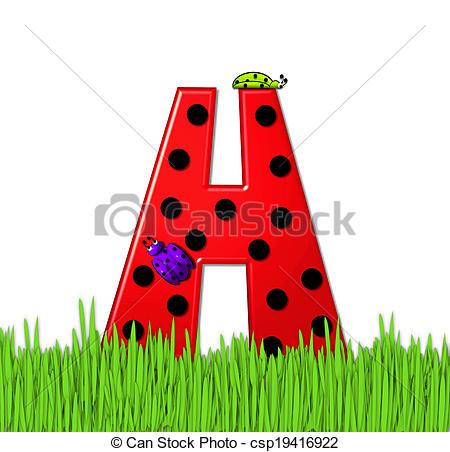 Clip Art of Alphabet Lady Bug Red H.