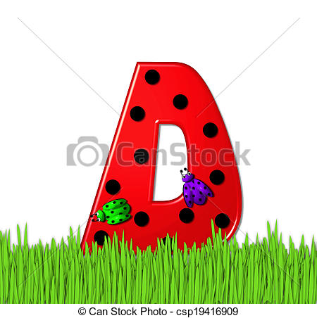 Stock Illustration of Alphabet Lady Bug Red D.