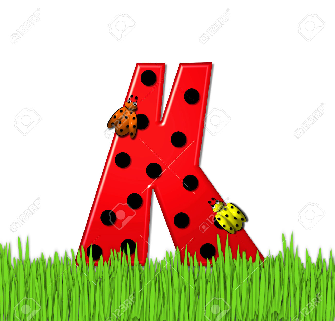 """The Red Letter K, In The Alphabet Set """"Lady Bug Red,"""" Has Large."""