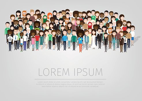 large group of people Clipart Image.