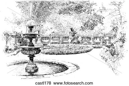 Stock Illustration of The Drapers` Guild Garden, London, England.