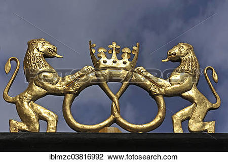"Stock Photo of ""Golden lion sculptures with pretzel, guild sign of."