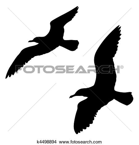 Clipart of vector silhouette of the sea gull on white background.
