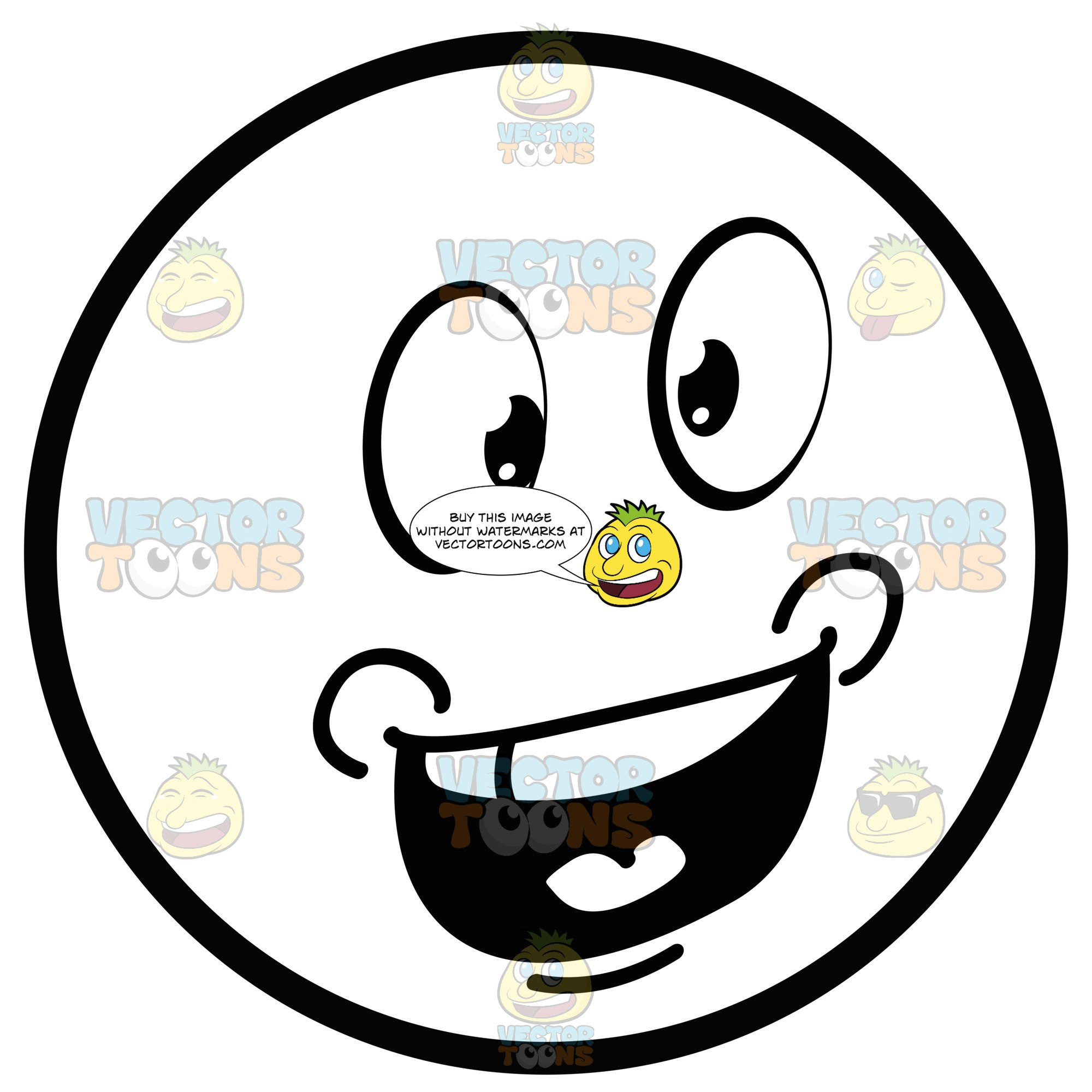 Talking Large Eyed Black And White Smiley Face Emoticon With Chubby Cheeks.