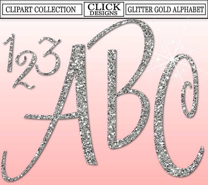 GLITTER SILVER ALPHABET Digital ClipArt: Letters, Numbers, Symbols.