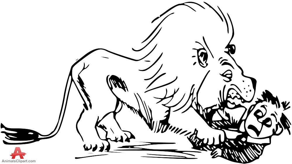 Lion Attacking Person Clipart.