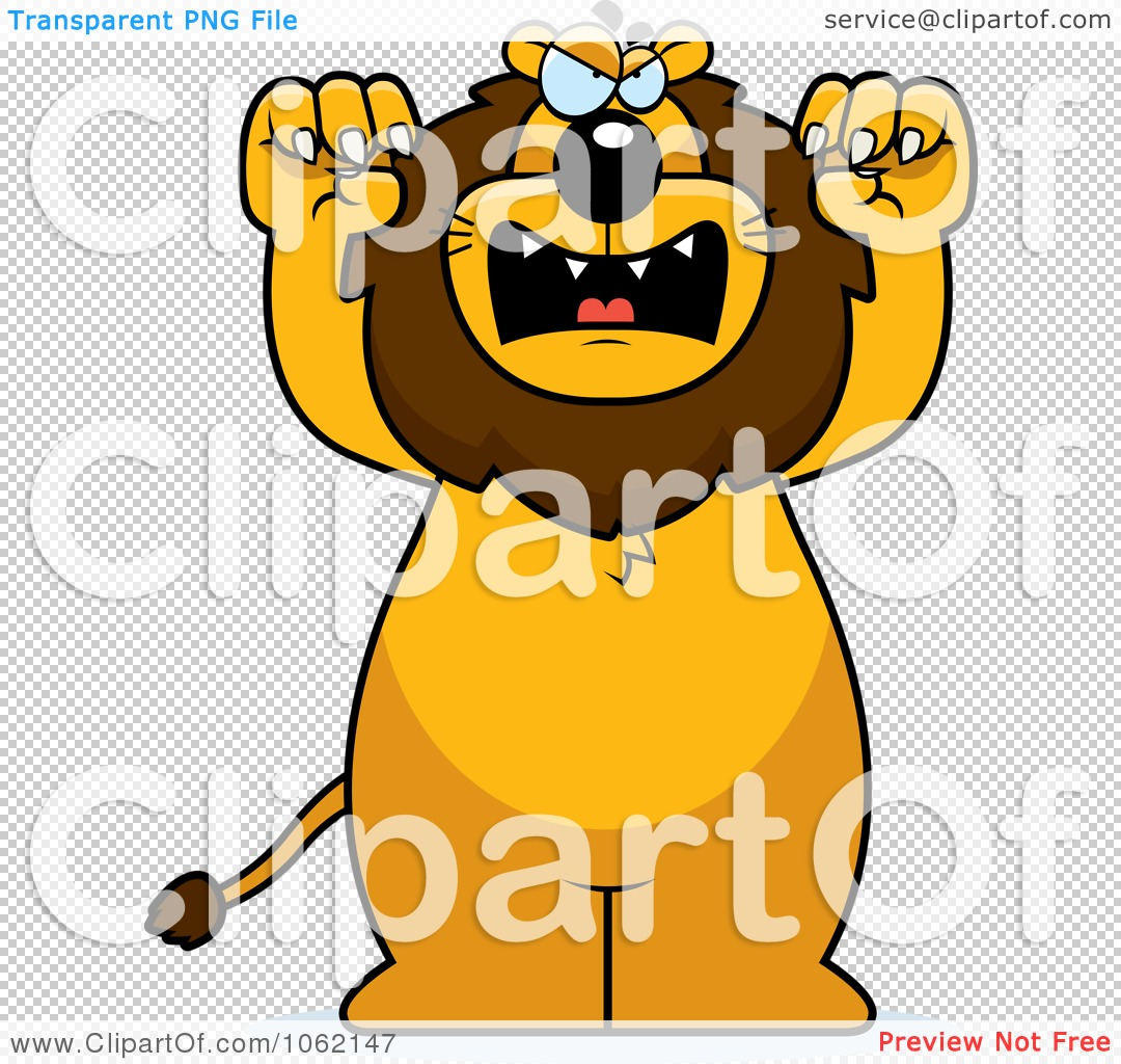 Clipart Big Mean Lion Attacking.