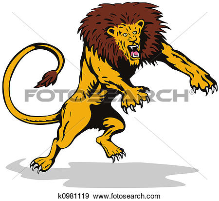 Stock Illustration of Ferocious lion attacking k0981119.