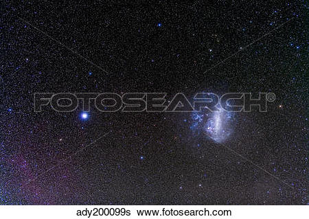Stock Images of The Large Magellanic Cloud and bright star Canopus.