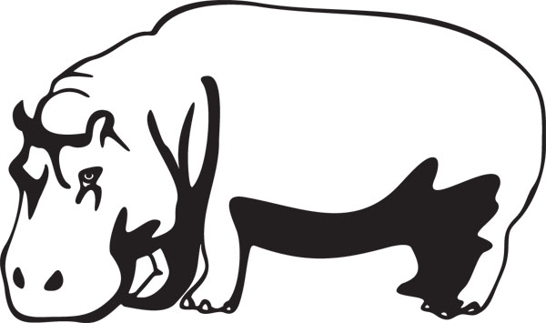 Hippo Graphic Large Mammal Art For Custom Gifts.