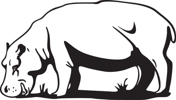 Grazing Hippo Graphic Large Mammal Art For Custom Gifts.