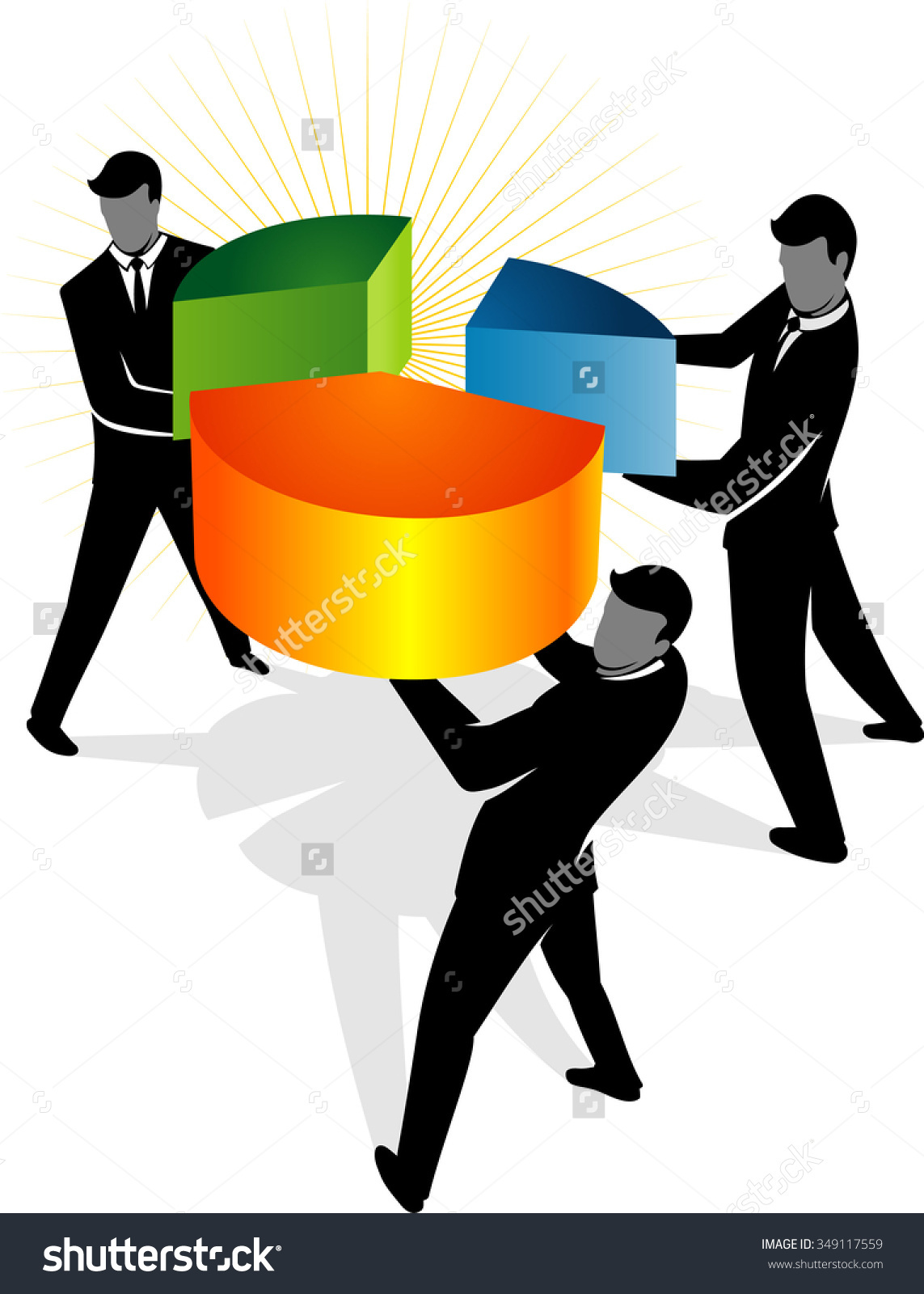 Market Shareabstract Business Concept Three Men Stock Vector.