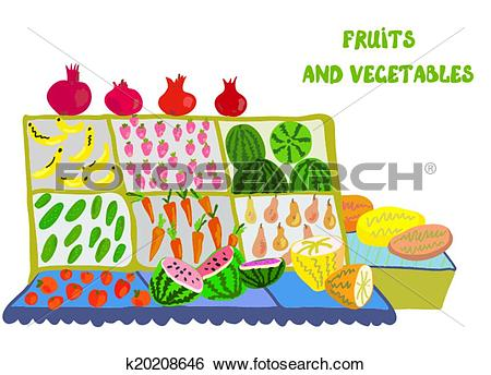 Clip Art of Fruits and vegetables market counter.