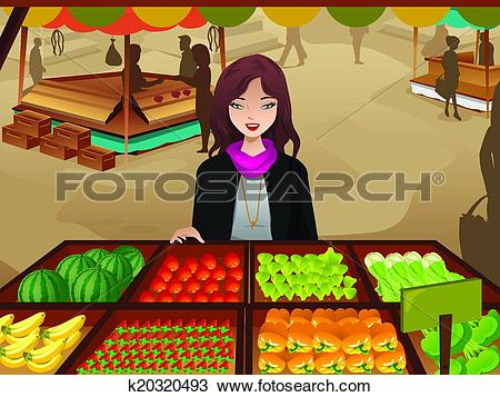 Clipart of Woman shopping at a farmers market k20320493.