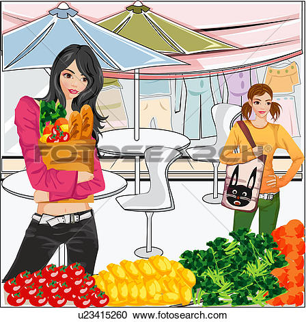 Stock Illustrations of Two Young Woman at Market u23415260.