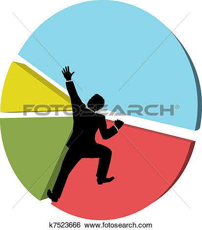 Clip Art of Business man reaches big market share k7523666.