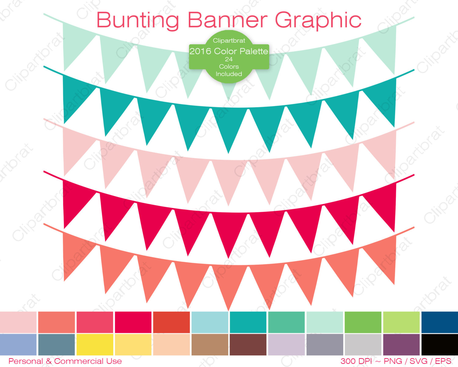 BUNTING BANNER Clipart Commercial Use Clipart Pennant Flag Graphic.