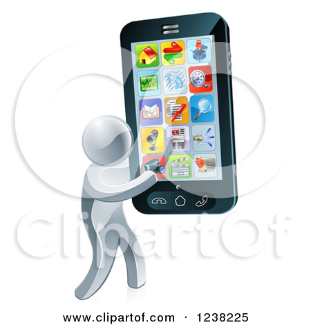 Clipart of a 3d Silver Man Carrying a Large Smart Phone.