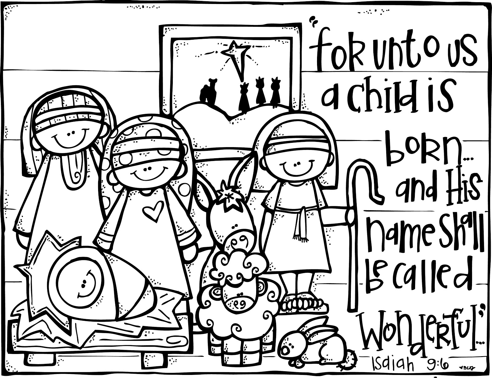 Nativity black and white large print black and white religious.
