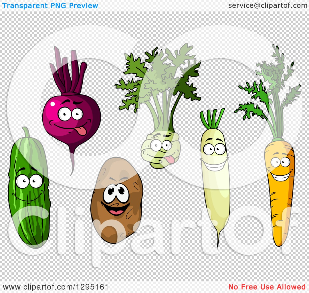Clipart of Cartoon Happy Cucumber, Beet, Kohlrabi, Daikon Radish.