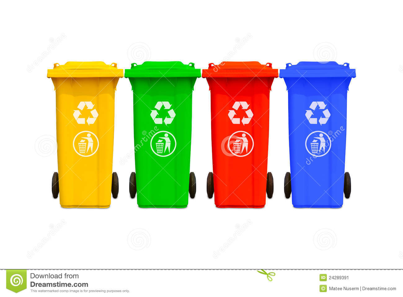 Large Colorful Trash Cans Collection Stock Image.