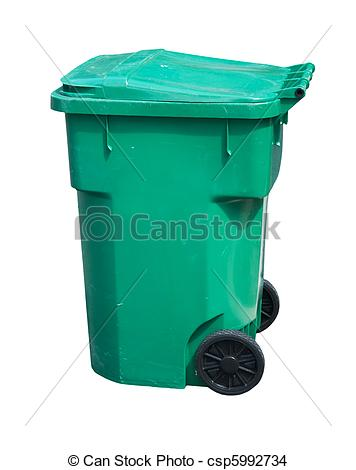 Drawing of light green trash can.