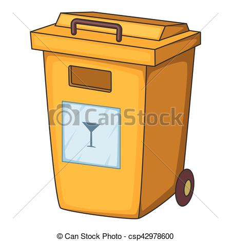 Vector Clipart of Yellow bin garbage container icon, cartoon style.