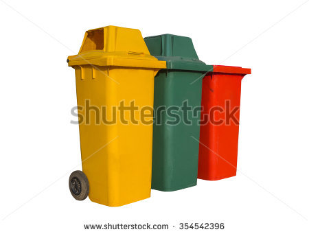 Large Colorful Trash Cans Garbage Bins Stock Photo 102707417.
