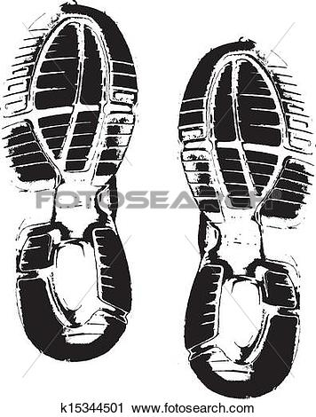 Clipart of Vector image of shoe prints k15344501.