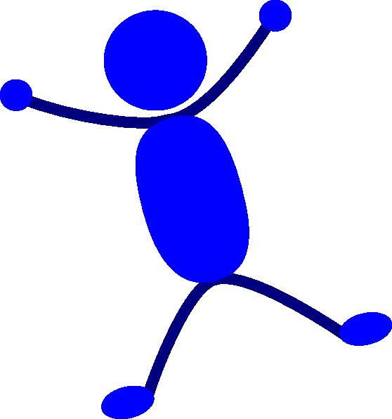 Solid Blue Man Jumping Clip art.