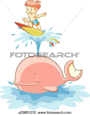 Stock Illustrations of Boy Surfing on a Whale Spout u23891210.