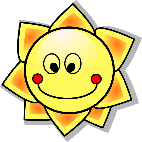 Smiling Cartoon Sun Clip art.