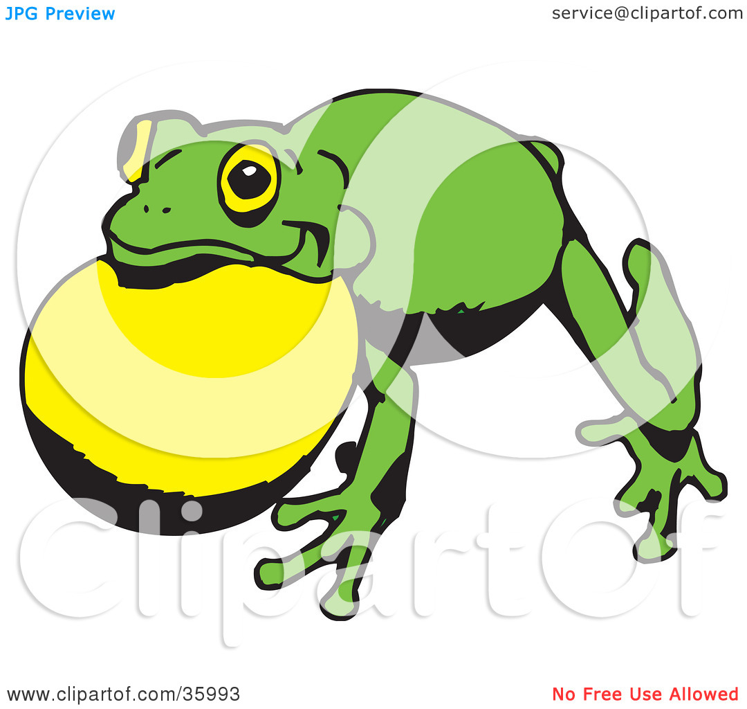 Clipart Illustration of a Green Frog With Air In Its Throat Pouch.