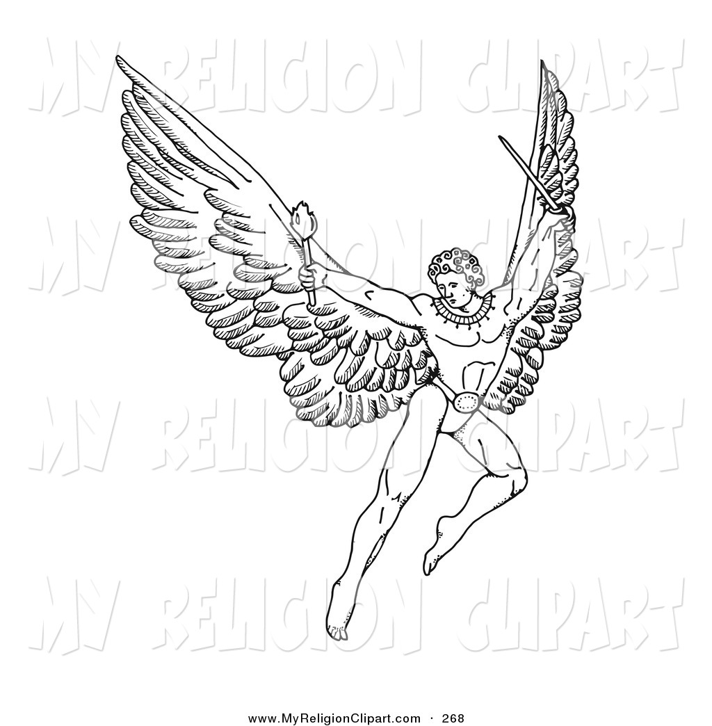 Religion Clip Art of a Pen and Ink Drawing of a Male Warrior Angel.