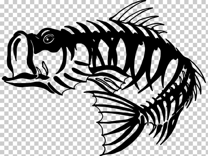 Bass fishing Skeleton Largemouth bass, Skeleton PNG clipart.