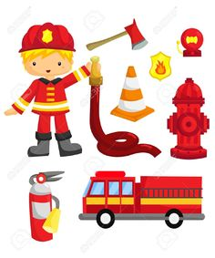 Firefighter cliparts. Boys in firefighter costume, and.