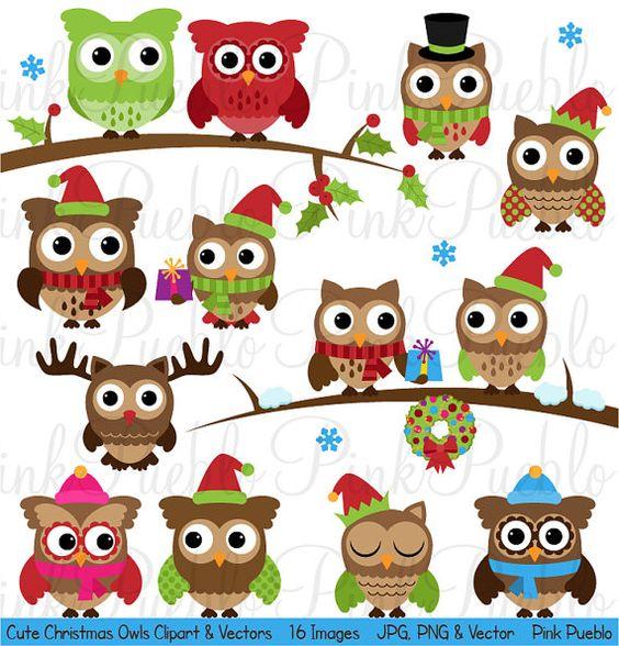 Cute Christmas Owl Clipart Clip Art, Winter Owls Clip Art Clipart.