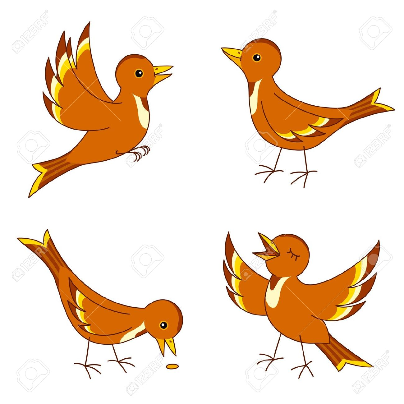 Set Of Four Stylized Birds. Royalty Free Cliparts, Vectors, And.