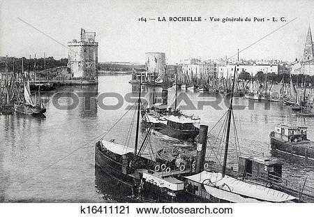 Stock Photography of old postcard, La Rochelle, general view of.