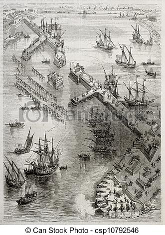 Drawing of Siege of La Rochelle: view of Richelieu breakwater.
