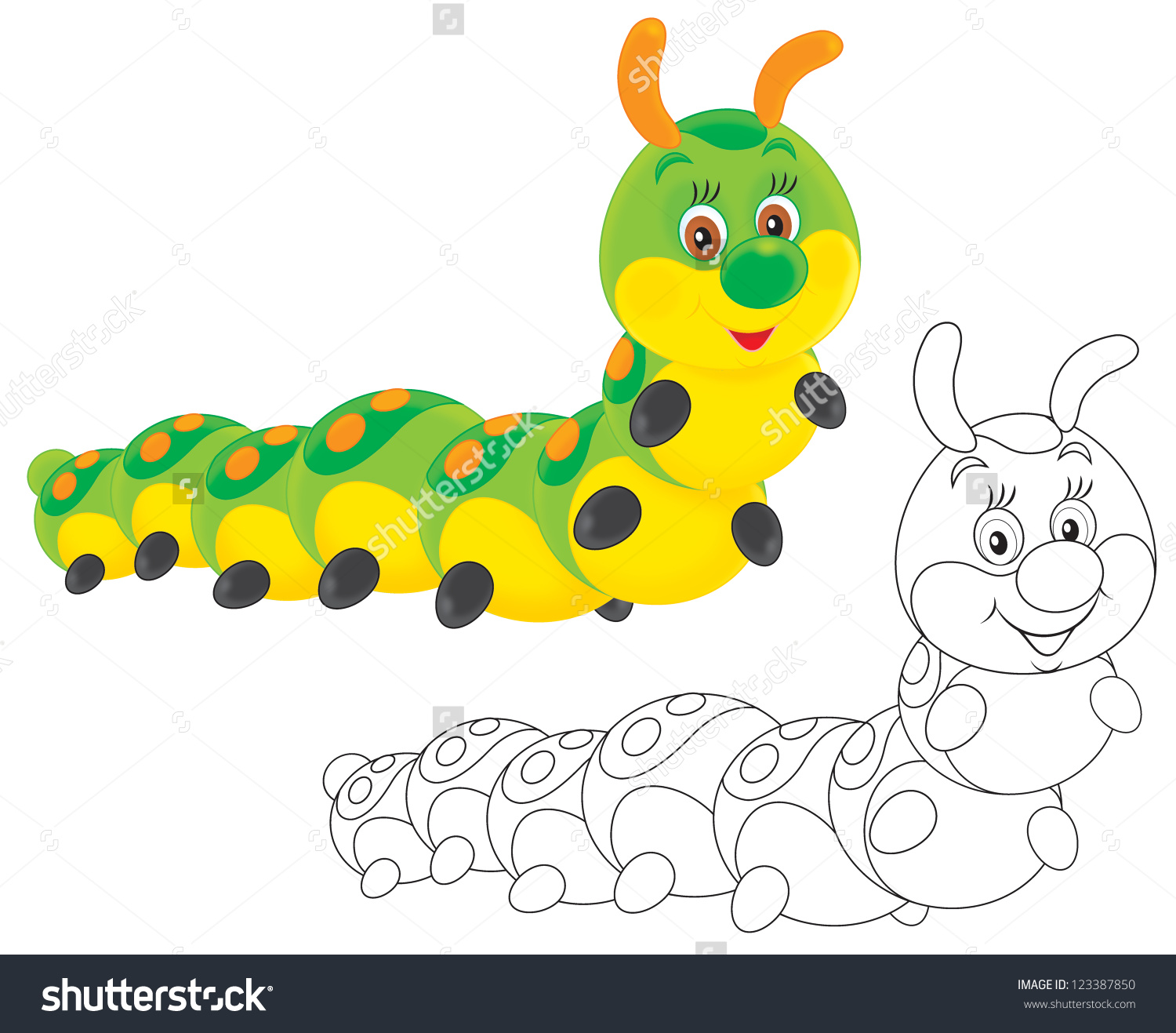 Caterpillar Friendly Smiling Stock Photo 123387850 : Shutterstock.