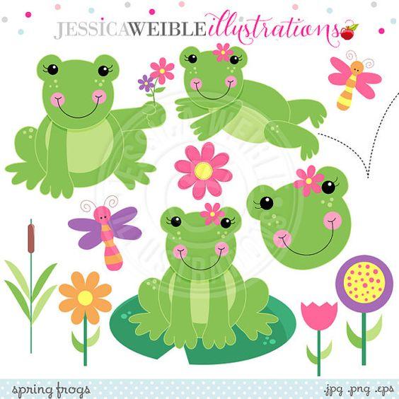 Primavera las ranas lindo Digital Clipart para diseño de tarjeta.