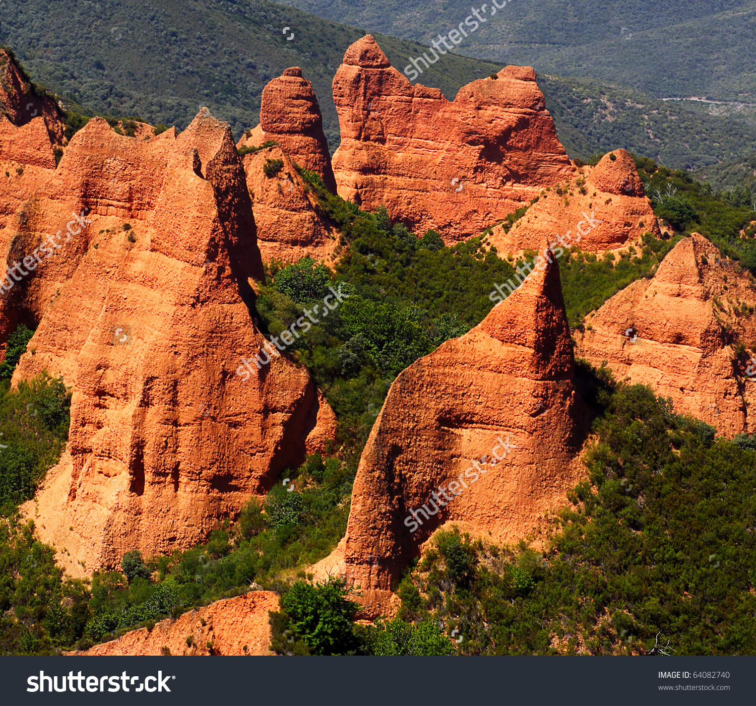 Las Medulas Red Mountains Leon Spain Stock Photo 64082740.