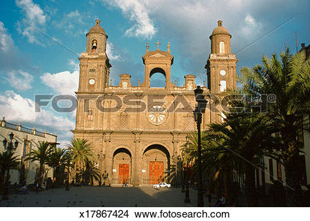 Stock Photo of Facade of Las Palmas Cathedral, Gran Canaria Island.