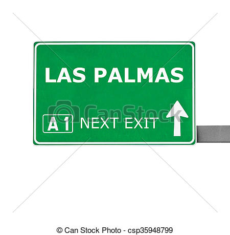 Stock Illustration of LAS PALMAS road sign isolated on white.